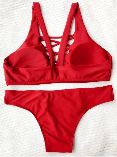Bikini paddé à bretelle avec lacets entrecoisés - Rouge M Mobile