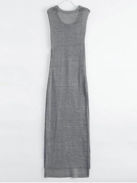 outfit Drop Armhole Maxi Beach Cover Up Dress - GRAY L Mobile