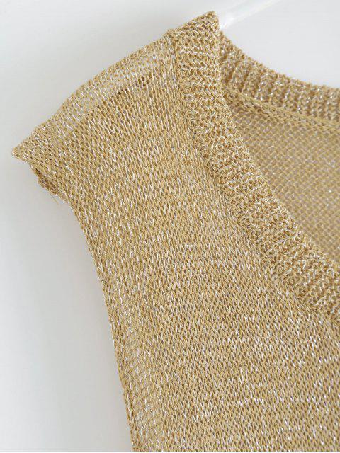 online Drop Armhole Maxi Beach Cover Up Dress - GOLDEN M Mobile