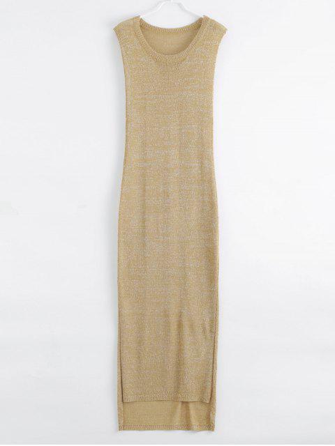 best Drop Armhole Maxi Beach Cover Up Dress - GOLDEN L Mobile