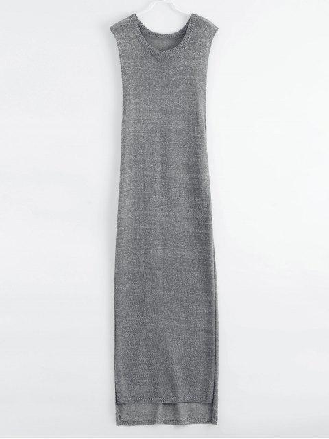 shop Drop Armhole Maxi Beach Cover Up Dress - GRAY S Mobile