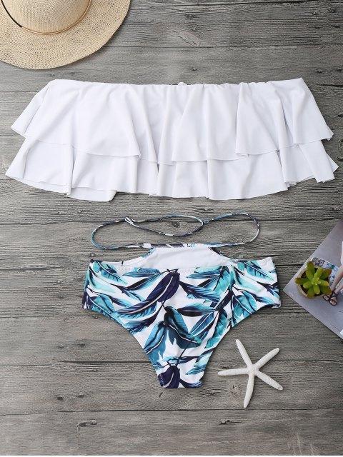 Ensemble de bikini épaules dénudées à volants multicouche - Blanc S Mobile