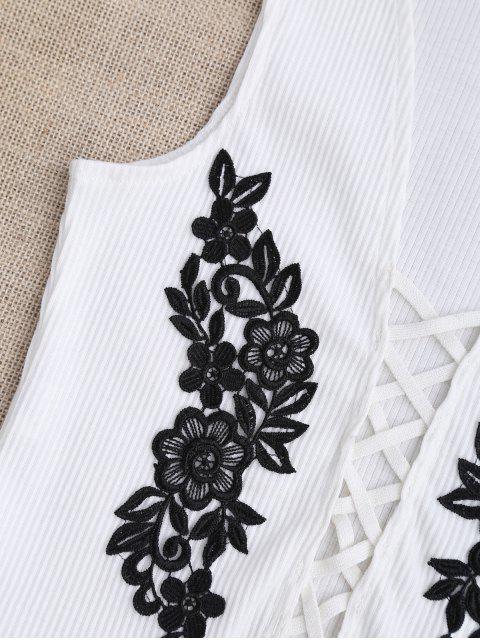 Strappy Floral Applique Sleepwear Top - Blanc S Mobile
