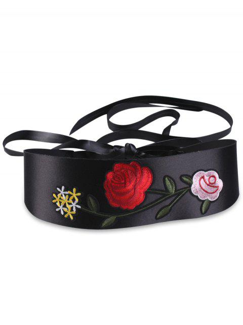 womens Retro Chinoiserie Flowers Embroidered Corset Belt - BLACK  Mobile