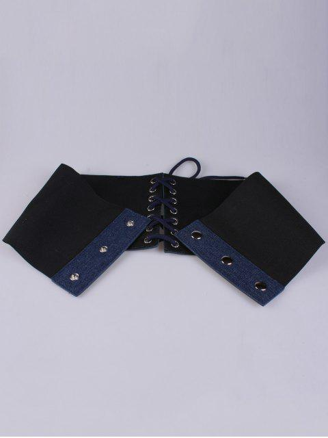 lady Lace Up Floral Embroidery Wide Leather Belt - CERULEAN  Mobile