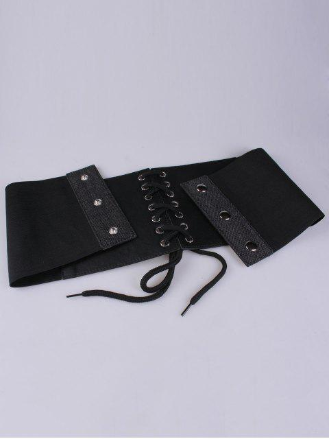 online Lace Up Floral Embroidery Wide Leather Belt - FULL BLACK  Mobile