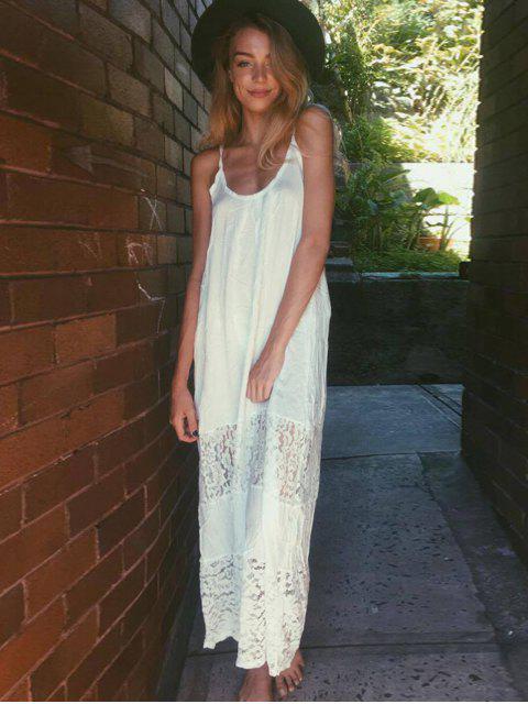 hot Spaghetti Strap Floral Pattern Lace Maxi Dress - WHITE L Mobile