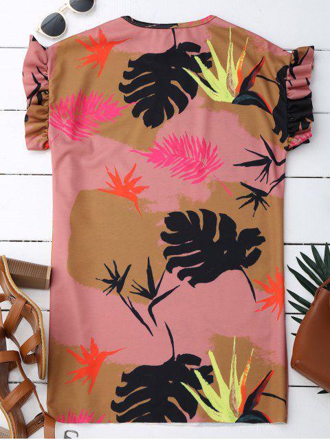 affordable Ruffle Tropical Print Shift Dress - COLORMIX L Mobile