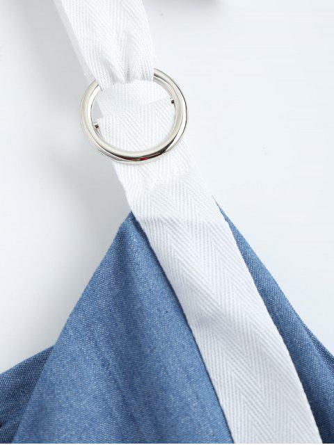 new Straps Ruffle Denim Dress - DENIM BLUE L Mobile