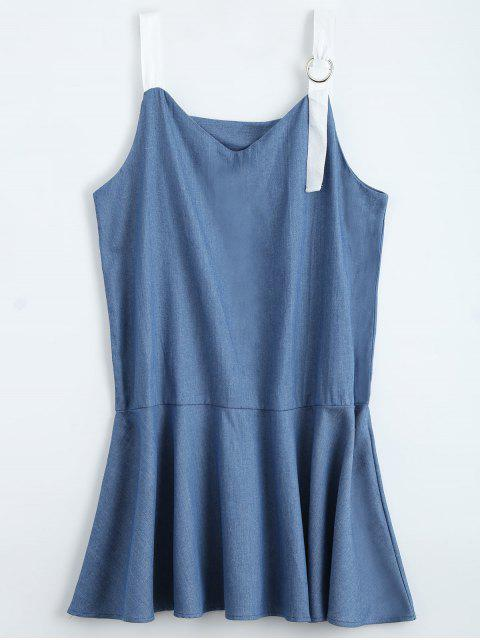 new Straps Ruffle Denim Dress - DENIM BLUE L Mobile
