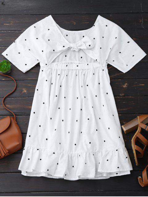 outfits Polka Dot Tie Back Ruffle Smock Dress - WHITE L Mobile