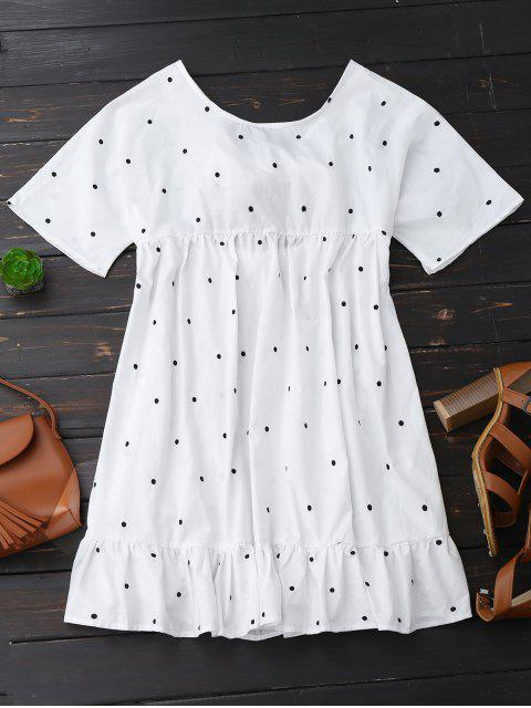 outfits Polka Dot Tie Back Ruffle Smock Dress - WHITE L Mobile