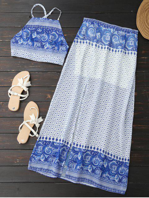Blusa Corta sin Espalda con Falda de Abertura Alta Lateral - Azul L Mobile