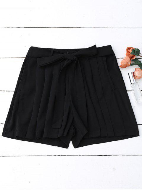 sale Pleated Skirted Wide Leg Shorts - BLACK M Mobile