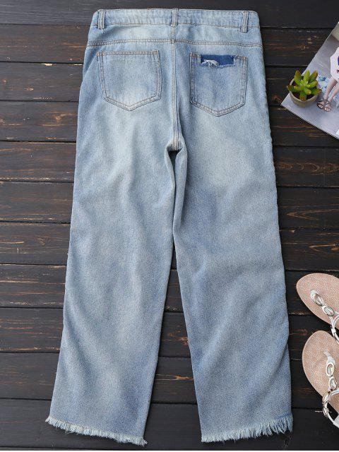 women Distressed Frayed Hem Zipper Up Jeans - LIGHT BLUE L Mobile
