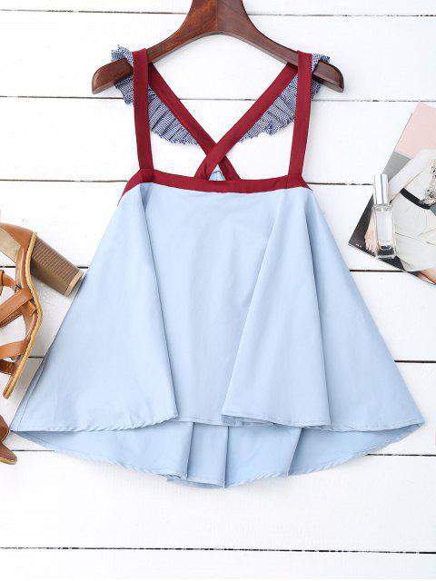 lady Crossover Skirted Houndstooth Tank Top - LIGHT BLUE L Mobile