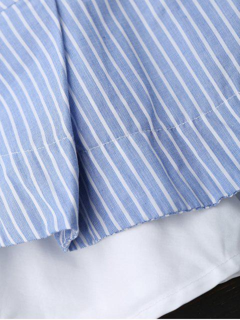 new Plunge Striped Skirted Top With Belt - BLUE L Mobile