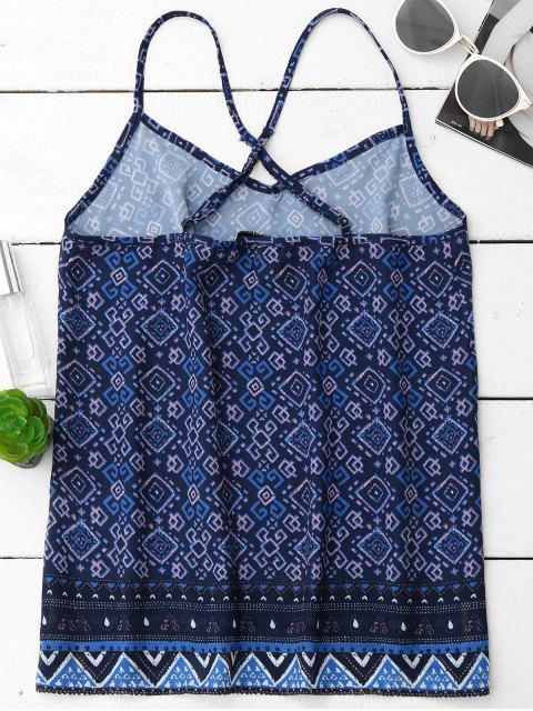 trendy Tribal Print V Neck Chiffon Tank Top - COLORMIX S Mobile