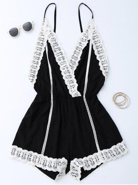affordable Plunge Lace Trim Open Back Romper - BLACK S Mobile
