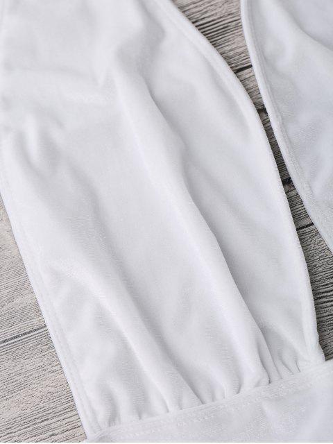 Maillot de Bain 1 Pièce en Velours Monokini à Col Halter - Blanc L Mobile