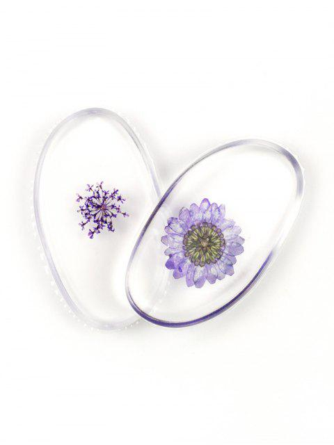 chic SIXPLUS 2Pcs Dried Flower Embedded Silicone Makeup Sponges - LIGHT PURPLE  Mobile
