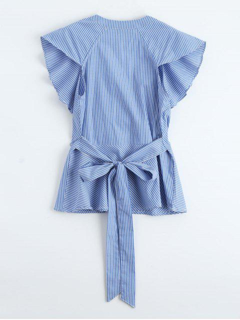 lady Plunge Ruffle Striped Top With Belt - BLUE L Mobile