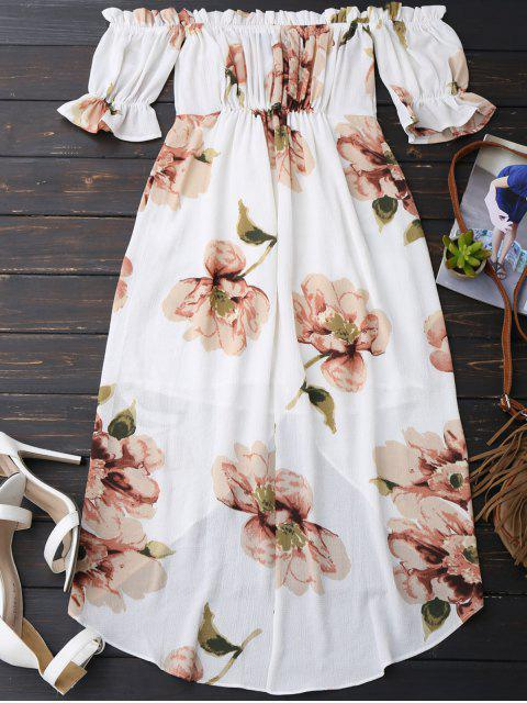 chic Off Shoulder Ruffle Asymmetric Floral Dress - WHITE M Mobile