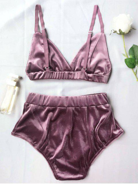 latest High Waist Velvet Bra Set - PURPLE M Mobile