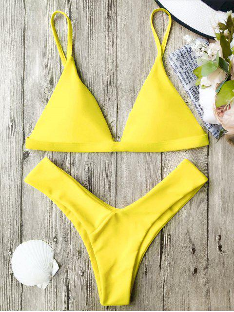 ladies Soft Pad Spaghetti Straps Thong Bikini Set - YELLOW S Mobile