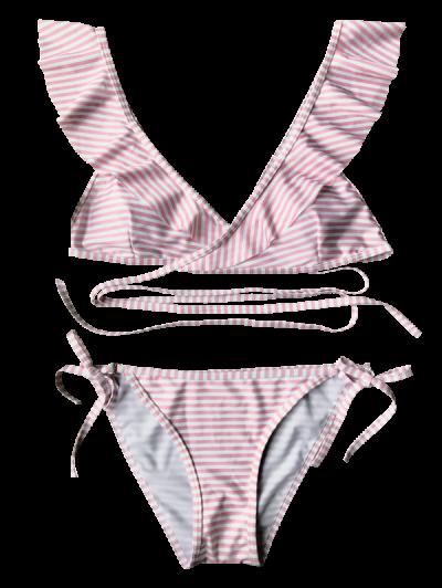 Striped Ruffles Strap Wrap String Bikini Set