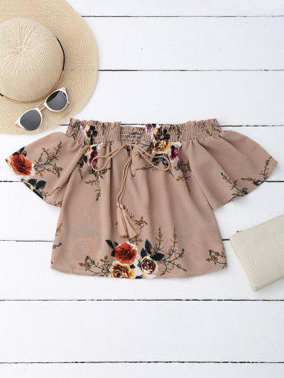 Off Shoulder Floral Cropped Blouse - Dark Nude S