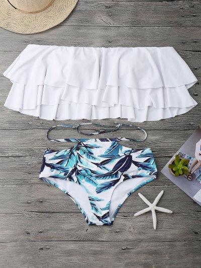 d143fda0fb4dc Flounce Layers Off The Shoulder Bikini Set - White M