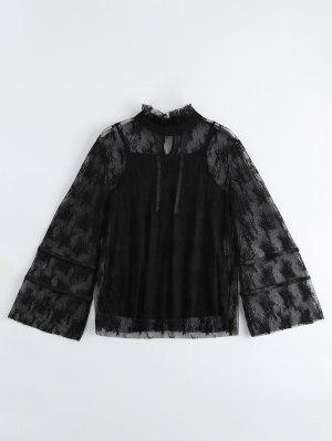 Lace Flare Sleeve Top Com Camisola De Alças - Preto L