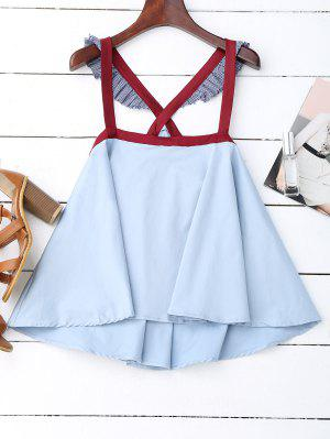 Crossover Skirted Houndstooth Tank Top - Light Blue L