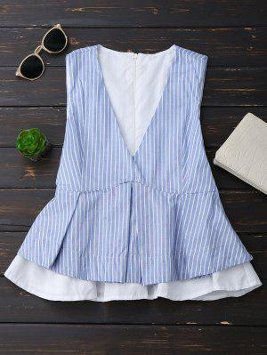 Plunge Striped Skirted Top With Belt - Blue L