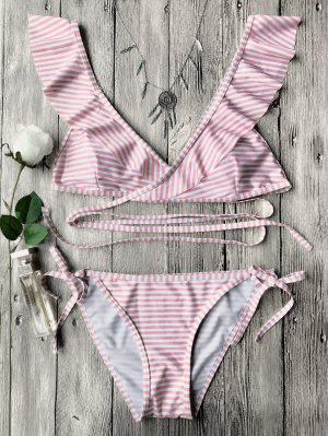 Striped Ruffles Strap Wrap String Bikini Set - Pink S
