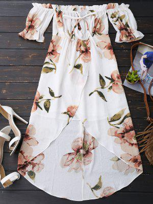 Robe plissée asymétrique épaule dénudée imprimée fleur