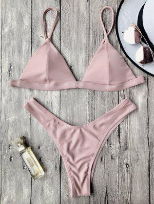 Spaghetti Straps Padded Thong Bikini Set - Pink S