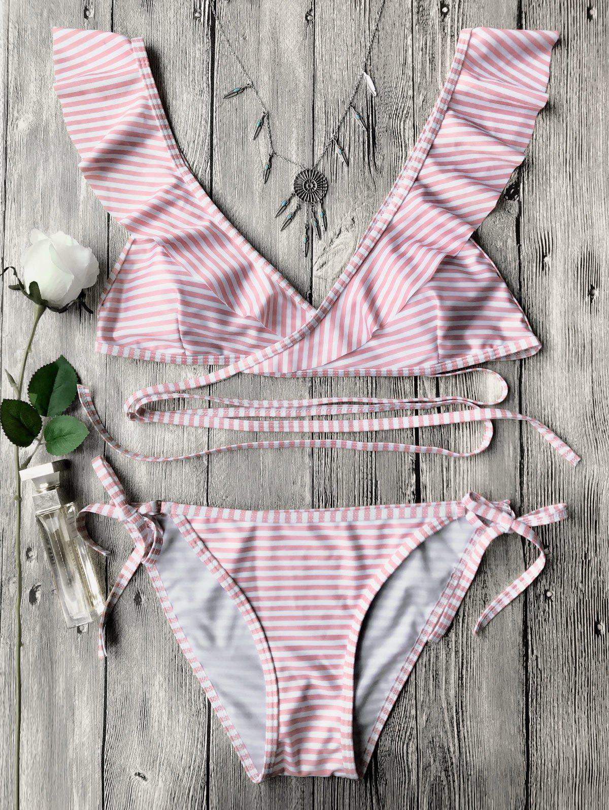 Striped Ruffles Strap Wrap String Bikini Set, Pink