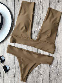 Soft Pad Plunge Bathing Suit - Brown M