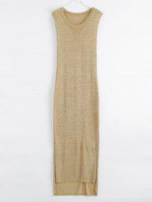 Drop Armhole Maxi Beach Cover Up Dress - Golden M