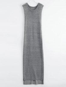Drop Armhole Maxi Beach Cover Up Dress - Gray L