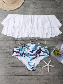 Traje De Bikini Fuera Del Hombro Con Volantes Estratificados - Blanco S