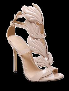 Mini Heel Double Buckle Strap Sandals - Nude 37