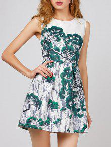 Buy Trees Print Sleeveless Line Dress - WHITE S