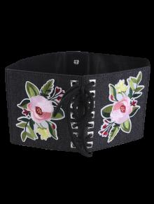 Lace Up Floral Embroidery Wide Leather Belt - Full Black