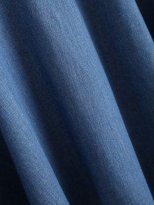 De Denim Straps Mezclilla Vestido Volantes Con Azul L 5OZq4fw