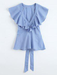 Blusa De Rayas Con Escote Pico De Volantes Con Cinturón - Azul M