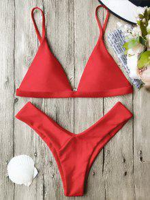 Soft Pad Spaghetti Straps Thong Bikini Set - Red M