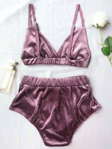 44314edac 29% OFF  2019 High Waist Velvet Bra Set In PURPLE